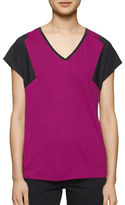 Calvin Klein Mixed Media V-Neck Tee