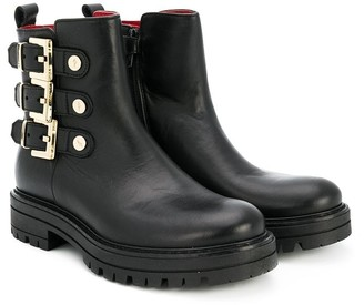 Cesare Paciotti Kids side buckle ankle boots