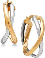 Macy's Two-Tone Overlap Hoop Earrings in 14k White and Yellow Gold
