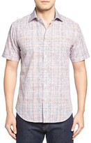 Bugatchi Men's Shaped Fit Print Short Sleeve Sport Shirt