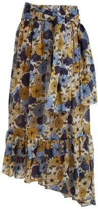 Lisa Marie Fernandez Nicole Floral-print Asymmetric-hem Skirt - Womens - Cream Multi