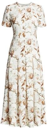 Oscar de la Renta Floral Pleated Belted Midi Dress