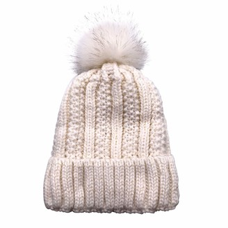 Pppanda Cable Knitted Hat Winter Beanie Hat Bobble Hats Pom Pom Hat for Women