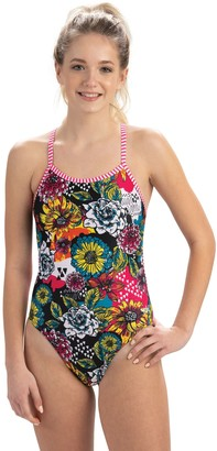 Dolfin Uglies Sugar Skull Print String Back One-Piece Swimsuit