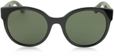 Gucci GG0035S 002 Black Optyl Round Women's Sunglasses w/Red-Green Glitter Temples
