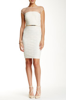 Little Mistress Mesh & Lace Belted Bodycon Dress