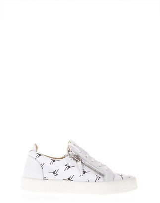 Giuseppe Zanotti White Leather Sneakers With Logo All Over