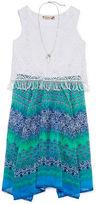 Speechless Aztec-Print Sharkbite Dress with Necklace - Girls 7-16