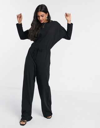 Asos DESIGN lounge jersey slub tie waist casual jumpsuit with long sleeves in black