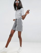 Asos Lace Up Mini Skirt In Stripe
