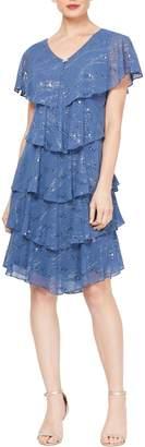 Slny Chiffon Tier Shimmer & Embellished Neck Dress