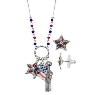 Napier Flag Pendant Necklace & Stud Earring Set