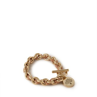Mulberry Medallion Leather Chain Bracelet Light Salmon Silky Calf