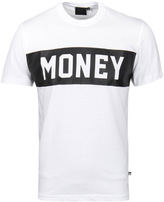 Money Punch Out White Crew Neck T-shirt