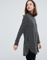 Monki Longline Stripe Shirt