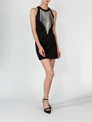 Balmain mini dress with fringe collar