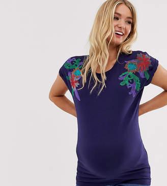 Mama Licious Mama.Licious Mamalicious floral shoulder t-shirt-Navy