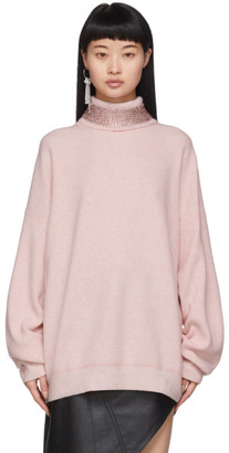 Alexander Wang Pink Wool Crystal Collar Turtleneck