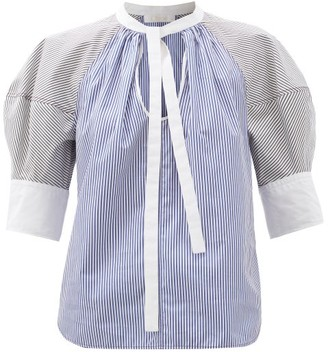 Chloé Puff-sleeve Striped Cotton-poplin Blouse - Blue White