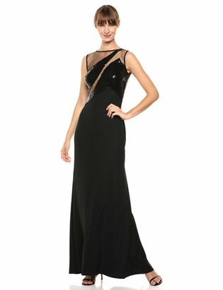 SHO Women's SLVLESS Crepe/Sequin Gown