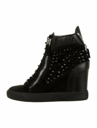 Giuseppe Zanotti Suede Studded Accents Wedge Sneakers Black