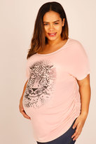 Yours Clothing BUMP IT UP MATERNITY Pale Pink Leopard Print Short Sleeve Top