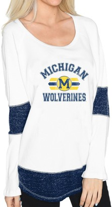 Original Retro Brand Unbranded Women's White Michigan Wolverines Contrast Boyfriend Thermal Long Sleeve T-Shirt