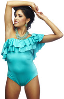Nicolita Swimwear - Rumba Ruffles Blue One-Shoulder One Piece Swimsuit