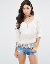 Gypsy 05 3/4 Sleeve Blouse With Crochet Trim