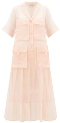 Lee Mathews Callie Cargo-pocket Silk-organza Shirt Dress - Pink