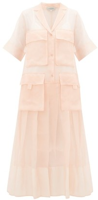 Lee Mathews - Callie Cargo-pocket Silk-organza Shirtdress - Womens - Pink