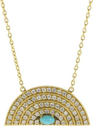 Andrea Fohrman Medium Diamond And Turquoise Rainbow Necklace