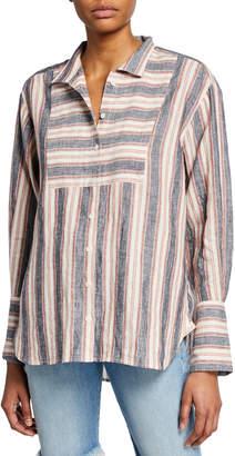 Frame Clean Collared Linen Bib Shirt