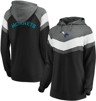 Women's Fanatics Branded Gray/Black Charlotte Hornets True Classics Go All Out Chevron Pullover Hoodie