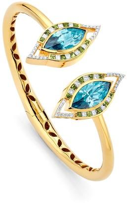 BUDDHA MAMA 20kt yellow gold diamond Evil Eye cuff bracelet