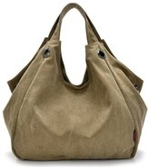 Tiny Chou Pure Color Women's Vintage Simple Style Canvas Tote Handbag Hobo Shoulder Bag Crossbody Bag