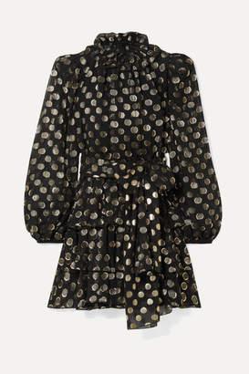 Dolce & Gabbana Polka-dot Metallic Fil Coupe Silk-blend Chiffon Mini Dress - Black