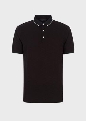 Emporio Armani Jacquard Polo Shirt With All-Over Monogram