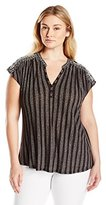 Lucky Brand Women's Plus-Size Embroidered Henley Top In Black Multi