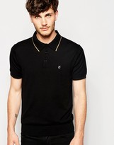 Peter Werth Knitted Polo Shirt With Tipped Collar - Black