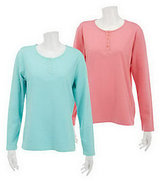 Denim & Co. As Is Set of 2 Long Sleeve Stretch Henleys