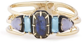 Alexis Bittar Gold-tone, Stone And Crystal Bangle