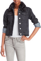YMI Jeanswear Faux Fur Trim Denim Jacket