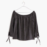 Madewell Plaid Off-the-Shoulder Top