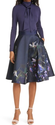 Ted Baker Dominaa Long Sleeve Fit & Flare Dress