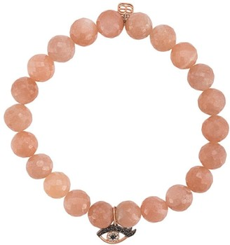 Sydney Evan 14kt rose gold diamond Evil Eye charm bracelet