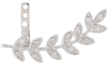Jacquie Aiche 14kt white gold large diamond leaf ear jacket
