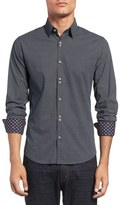 Stone Rose Trim Fit Geometric Pattern Sport Shirt