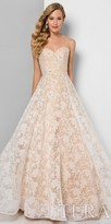 Terani Couture Strapless Sweetheart Beaded Leaf Motif Ball Gown