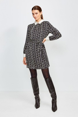 Karen Millen Silk Tie Waist Shirt Dress